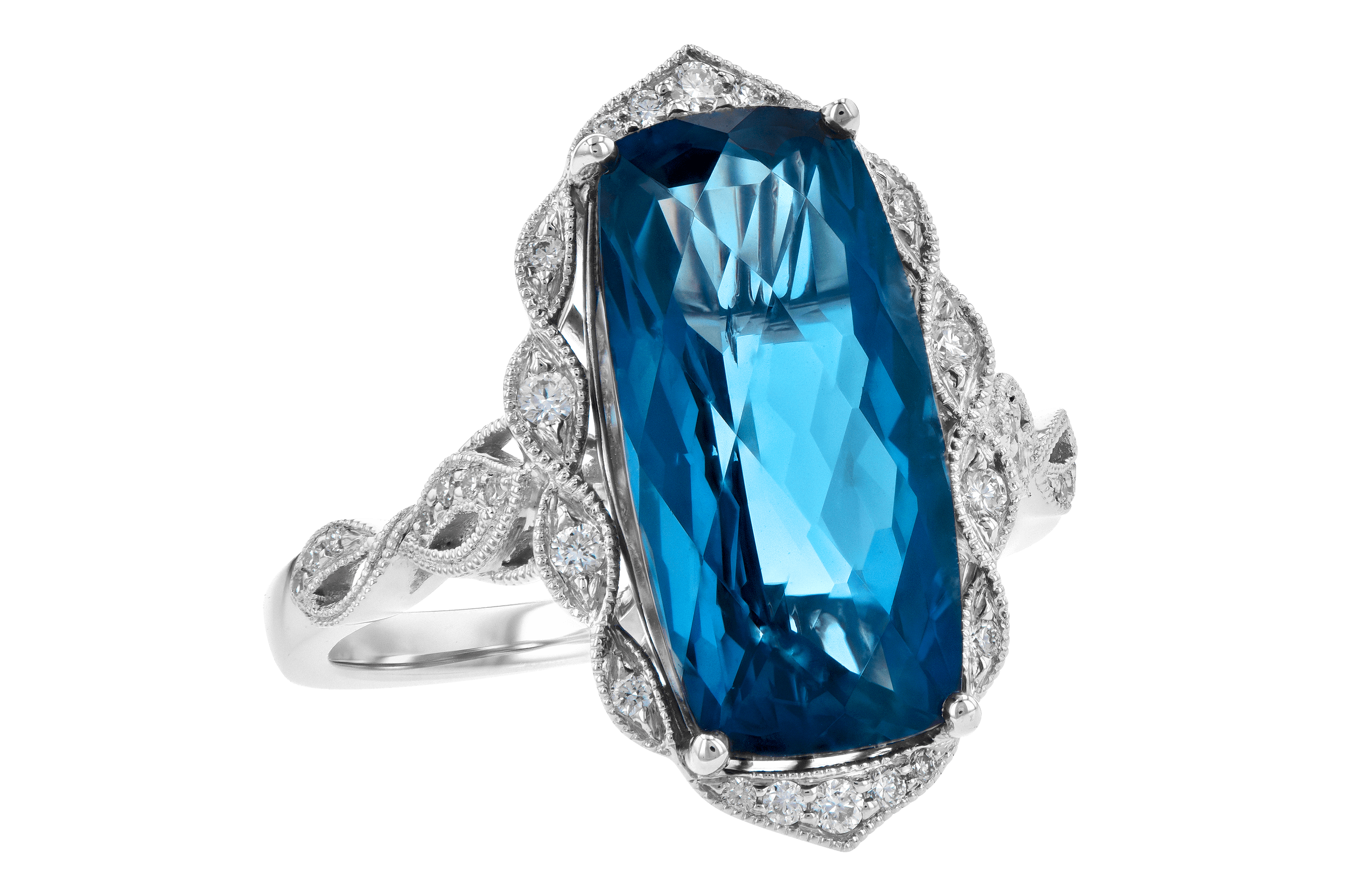 H190-10640: LDS RG 6.75 LONDON BLUE TOPAZ 6.90 TGW
